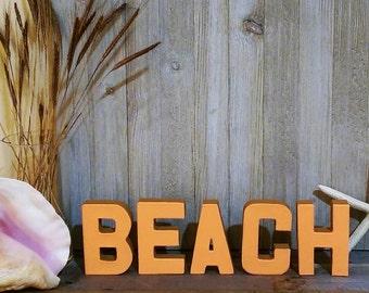 Small Beach Block Letters Peach - Tan