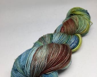 Hand dyed sock yarn in blurs and greens and some red, sock yarn for shawls, socks and more   Kettle dyed yarn