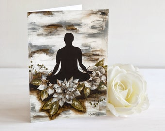 Meditating peaceful card mixed media