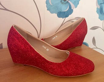 Ruby Red Wedges - Mid Heel - Wizard of Oz - Bridal Shoes - Bridesmaid - Wedding - Prom - Customised Shoes - Glitter Shoes - UK Size 3-8