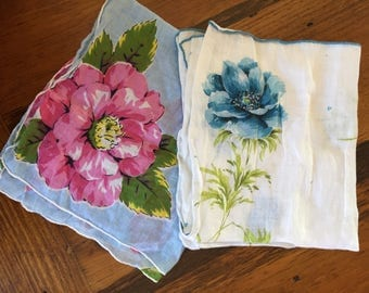 Pair of Vintage Floral Handkerchiefs--SHIPS FREE!!