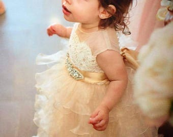Tea lenght  champagne tan 'Daisy' flower girl dress with French lace, rhinestone sash and organza skirt, birthday dress,  pageant dress