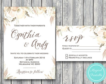Custom Wedding Invitation Set, Wedding Invitation Printable, White Floral Engagement Party Invitation, Wedding Invitation Suite TH72 WI46 dd