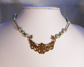 Art Deco Filigree Choker with Sage Green Pearls and Antique Brass Chain
