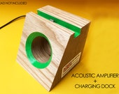Acoustic speaker charging dock smart phone wooden phone dock stand i phone 6 i pod touch cell phone stand samsung galaxy i phone 7 plus