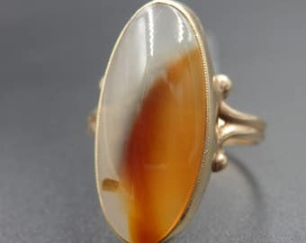 Antique large oval agate yellow gold ring size 7