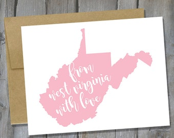 Customizable From West Virginia With Love Notecard Set of 12 - West Virginia Note Card Set - Stationary Set