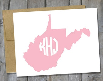 Customizable West Virgnia Monogram Notecard Set of 12 - State Note Card Set - Customized Notecards