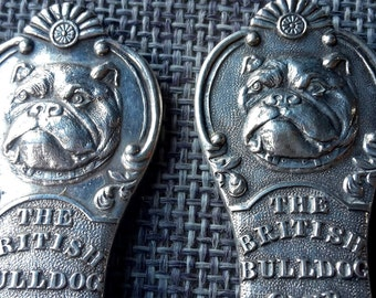 This is a stunning antique sterling silver spoon and fork of the British Bulldog club hallmarked for Birmingham 1911.