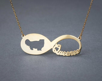14k Solid Gold Personalised INFINITY PERSIAN CAT Necklace - 14k Gold Persian Cat Necklace - Name Necklace