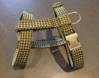 Green Tan Striped Dog Harness