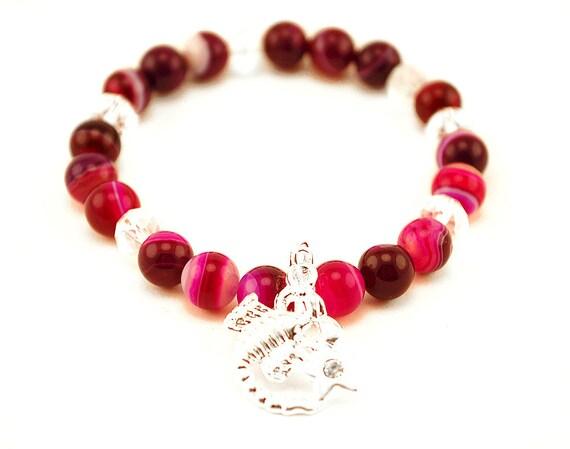 Beautiful Bright Agate Elastic Bracelet, Christmas, Birthday Gift Idea, Gemstone Beaded Bracelet, energy bracelet, FREE UK SHIPping
