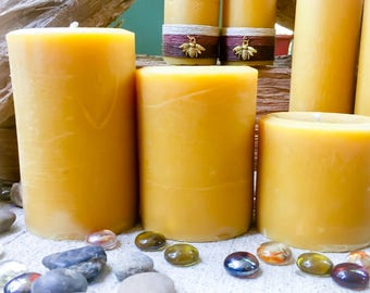 "100% Pure Beeswax Pillar candle-set of 3 beeswax candles-natural beeswax-handmade pure beeswax pillar candles-organic beeswax candle-3"" wide"
