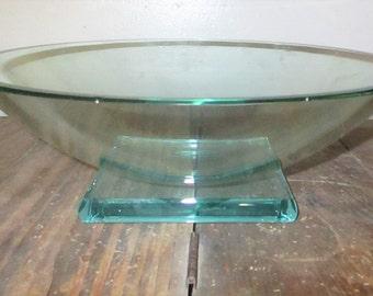 1991 Stephen Schlanser Art Glass Footed Bowl Pedestal Center Bowl Centerpiece Signed Fruit Platter Display
