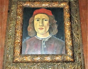 American Regionalist Oil Painting Portrait Young Man After Botticelli In Victorian Gesso Floral Flowers Wood Frame