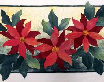 Art Quilt, Original Fiber Art Wall Hanging, Poinsettias, Hand dyed Fabric, Fabric Art, Christmas Flowers