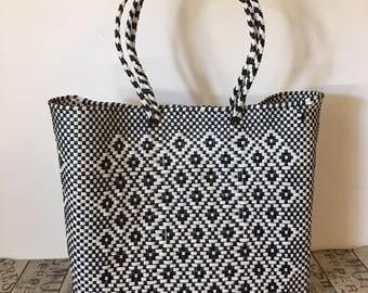 HANDWOVEN TOTE, Plastic bag, Mexican bag, Market bag, Mexico tote bag, Oaxacan bag, Handmade plastic bag