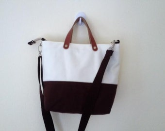 Two Tone White Brown Canvas Bag Handmade