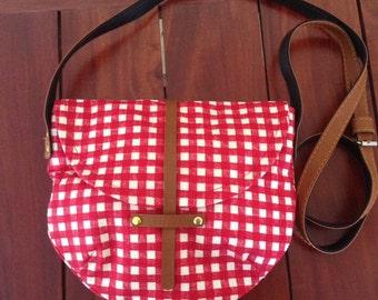 Red Plaid Fabric Cross Body Bag Handmade