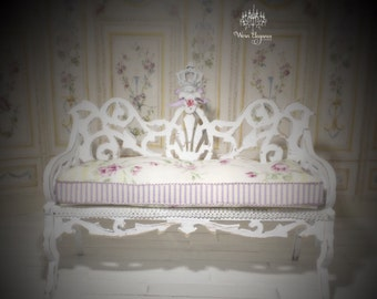 Dollhouse Miniature Shabby Chic Furniture, 1:12, Sofa, Ornate Scrolled Wood Details, Floral and Lilac Stripe Fabric, Whimsical, Shabby Crown