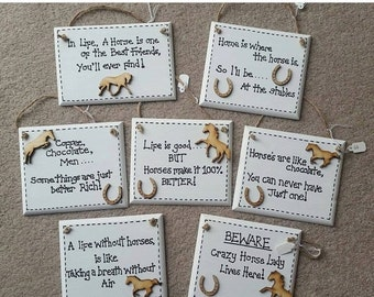 """Horse Owner """"Home is where the horse is So Ill Be At The Stables"""" Humor Funny Plaque"""