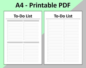 To Do List Printable, To Do List Planner for Filofax A4, A4 Insert, INSTANT DOWNLOAD