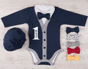 1st BIRTHDAY BOY OUTFIT,  Personalized Navy Cardigan, Bodysuit, Hat & Bow Tie Set, First Birthday Photo Props, One Year Old Boy Birthday