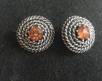 Vintage Earrings Clip On Amber Crystal Rhinestones Jewelry
