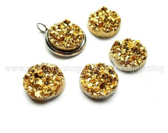 12mm Metallic Gold Faux Druzy Resin Drusy Cabochons Kawaii Cabochon Golden Jewelry Findings Crafting Supplies DIY Earring Necklace Bracelet