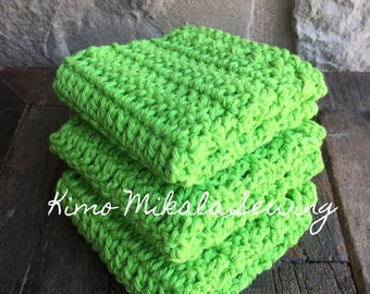 Bright Lime Green 100% Cotton Crocheted Dishcloths - Set of Three
