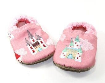 Castle baby shoes girl baby booties pink baby soft sole shoes toddler shoes crib shoes pink baby shoes fairytale baby princess baby gift