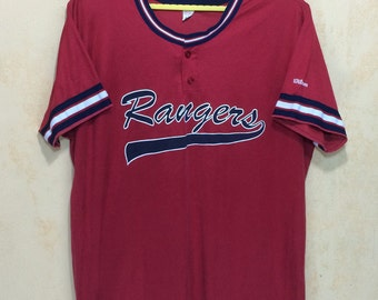 70s 80s WILSON #Rangers Baseball  Jersey Adult XL Size Made In Usa
