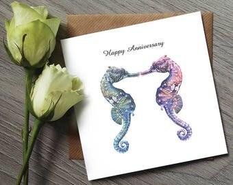 Seahorse Anniversary Card - Anniversary Gifts - Anniversary Card for Boyfriend - Anniversary Card for parents - Seahorse Print - Seahorse