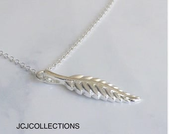 925 Sterling Silver Feather Necklace, Simple, Delicate, Bohemian Necklace