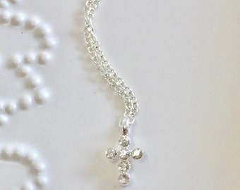 Tiny Sterling Silver CZ Necklace, Dainty, Simple