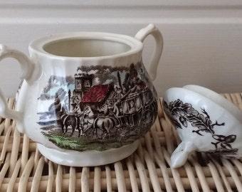 Staffordshire Sugar Bowl, Myott Staffordshire Ware, Royal Mail Sugar Bowl, Vintage Sugar Bowl, Vintage Tea Set, Tea Party.
