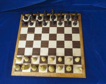 Price Reduced Chess Board - minor defect on board, hand made of solid wood.