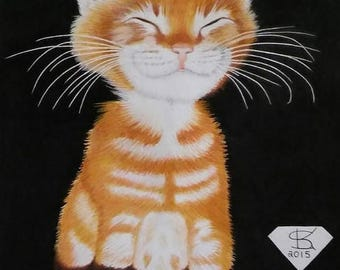 50 made of Smiling kitty on Canvas  11 x 14 inches