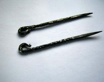 Set of two: Hand-forged Skewer, Pricker, Iron Spit, Cutlery for Reenactment, LARP, Renaissance Fair