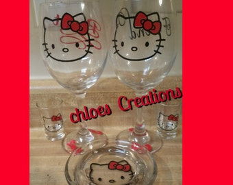 hello kitty wine glass set
