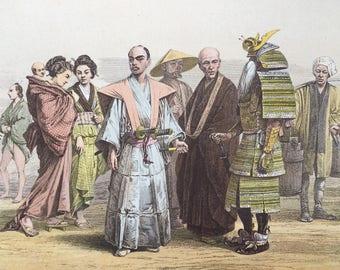 1882 Human Races - Japanese - Mongol Race Original Antique Lithograph, 11 x 14 inches - Home Decor - Anthropology - Races - Humans