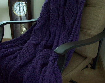 Purple Hand Knitted Blanket