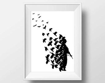 Banksy poster print instant download, Printable art
