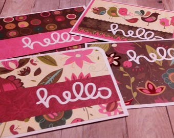 "4 Handmade Greeting Cards, ""Hello"""