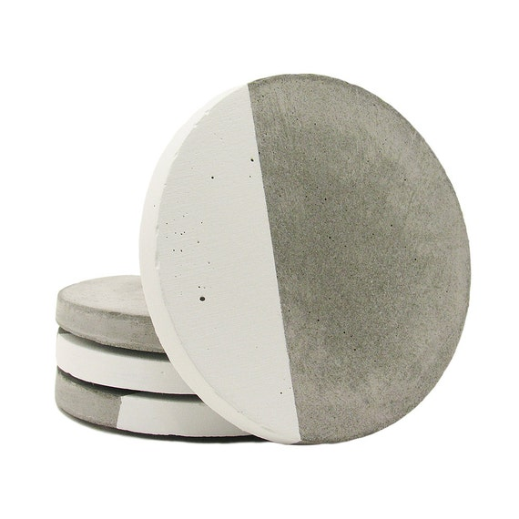 Concrete coasters drink coasters modern coasters cement for How to make concrete coasters