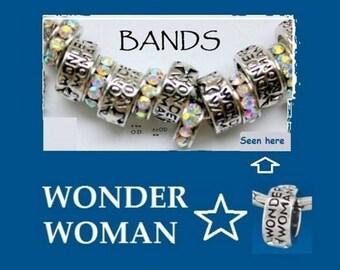 Wonder Woman affirmation European Bead,Large Hole Charm Bead,