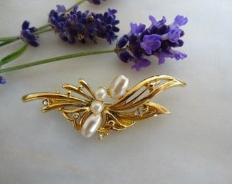 Vintage Pearl Brooch, Gold Pearl and Diamante Brooch, Pearl and Rhinestone Brooch
