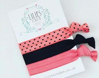 Watermelon hair ties, black hairbands, pink hairties, stretchy hair bands, summer fashion, elastic bracelet, hair ribbons, hair-tie gift set
