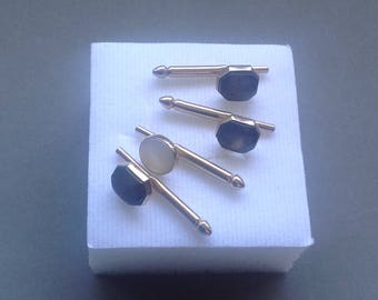 Black and White Inlaid MOP Shirt Studs/Tuxedo Studs/Signed Swank/ Set of Four/ Formal Wear/Wedding Accessory