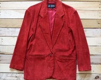 80s Vintage Women's Red Suede Leather Blazer Jacket Oversized LUIS ALVEAR